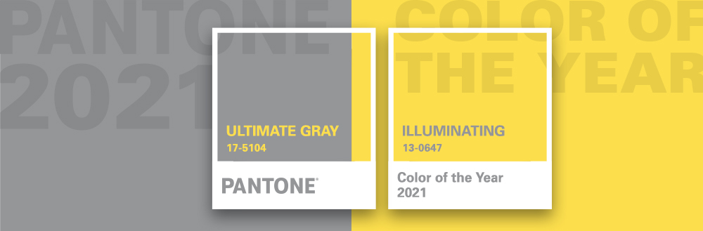 Color chips from Pantone colors of the year for 2021, Ultimate Gray and Illuminating